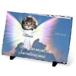 Plaque Funéraire animal ardoise ange ciel