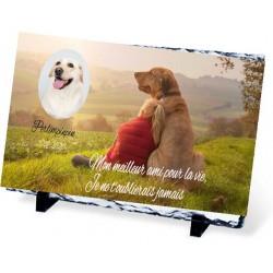 Plaque Funéraire animal ardoise chien et femme