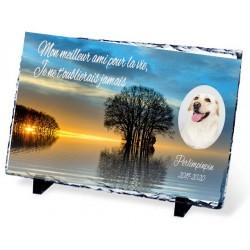 Plaque Funéraire chien et lac ardoise chien et femme