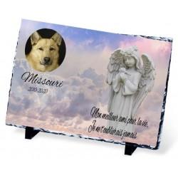 Plaque Funéraire pour chien ange dans le ciel