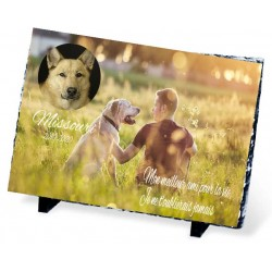 Plaque Funéraire pour chien avec homme