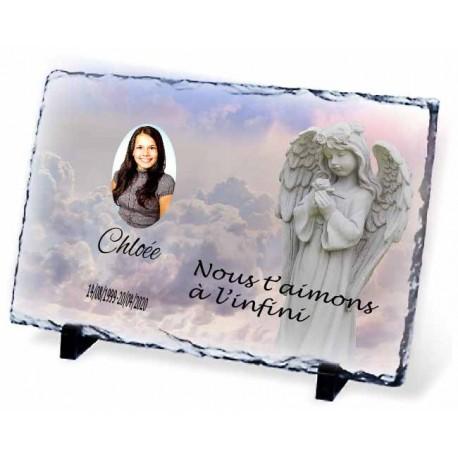 Plaque Funéraire ange ardoise