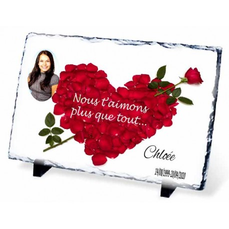Plaque Funéraire coeur en rose