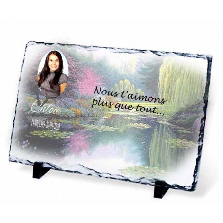Plaque Funéraire lac fleuri