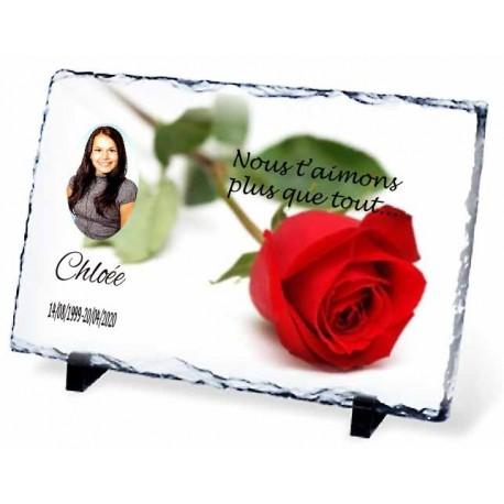 Plaque Funéraire rose rouge