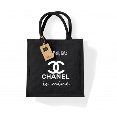 Sac toile de jute noir Pretty little bag