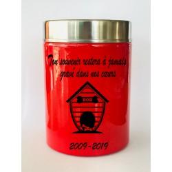 Urne Funéraire niche Animaux rouge