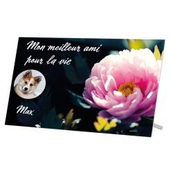 Plaque Funéraire Chien Fleur Rose