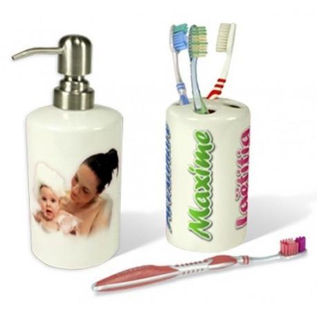 Distributeur à savon avec Porte brosse à dent
