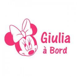 Sticker bb à bord Minnie avec prenom